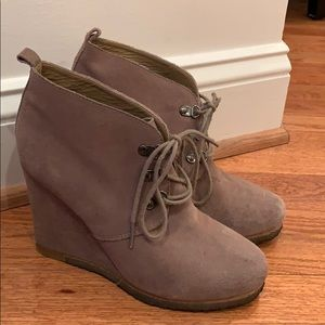 Grey suede lace up booties